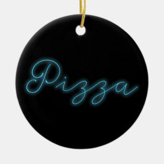 Neon Glow Pizza Round Ceramic Decoration