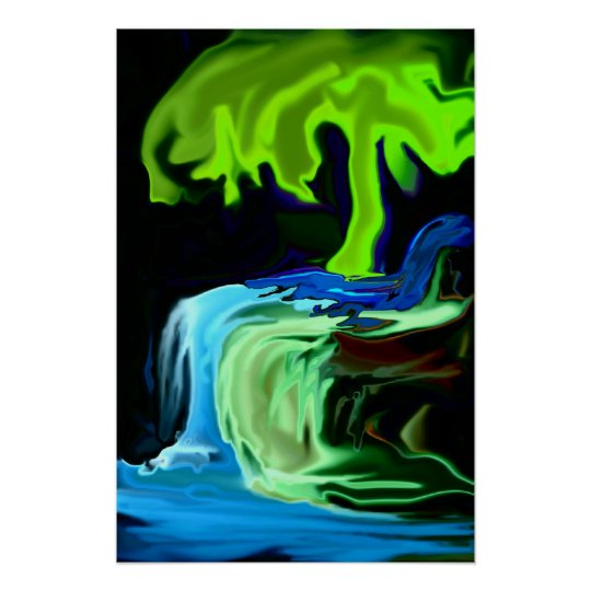 Neon glow tree and waterfall abstract poster