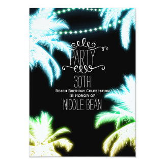Neon Glowing Palm Trees Beach Party Summer Card