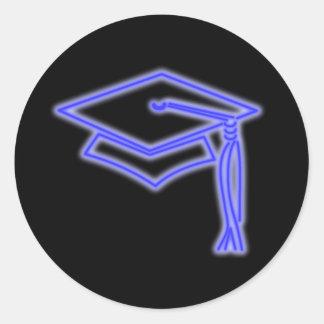 Neon Grad Cap Blue Classic Round Sticker