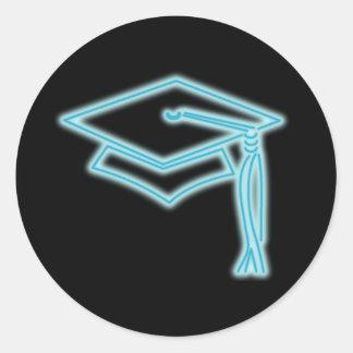 Neon Grad Cap Light Blue Classic Round Sticker
