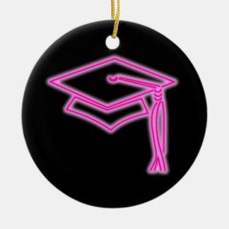 Neon Grad Cap Pink Ornament