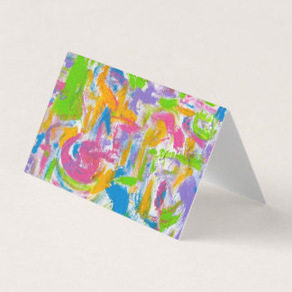 Neon Graffiti-Hand Painted Abstract Brushstrokes Business Card