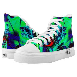 Neon green abstract high tops
