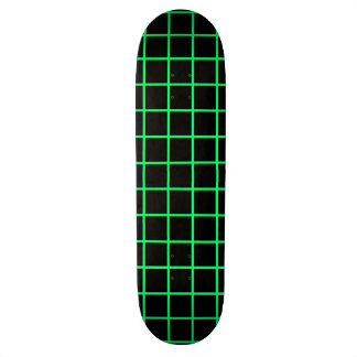 Neon Green and Black Grid Skateboard Deck