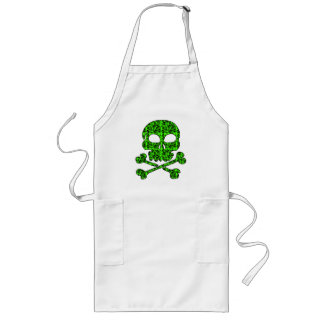 Neon Green and Black Skulls for Halloween Long Apron