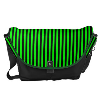 Neon Green And Black Stripes Messenger Bags