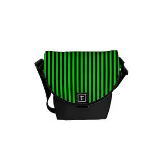 Neon Green And Black Stripes Messenger Bag