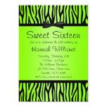 Neon Green and Black Zebra Bow Sweet 16 Birthday Invitation