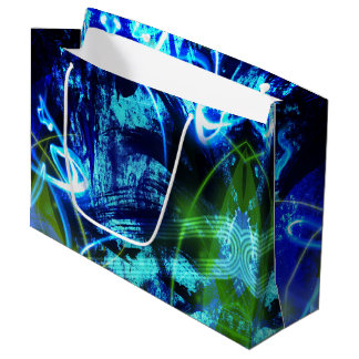 Neon Green And Blue Abstract Pattern Large Gift Bag