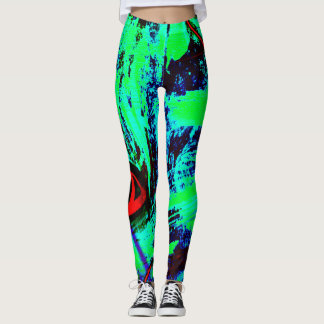 Neon Green And Blue Abstract Pattern Leggings