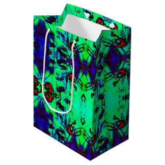 Neon Green And Blue Abstract Pattern Medium Gift Bag