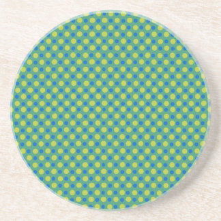Neon Green and Blue Polka Dots on Green Beverage Coaster