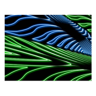 Neon green and blue postcard