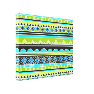 Neon Green and blue tribal pattern Canvas Print