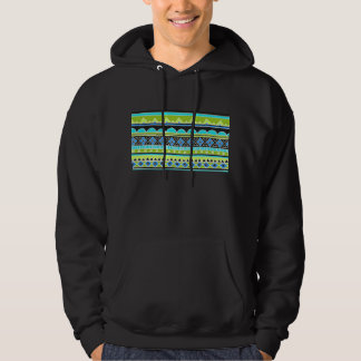 Neon Green and blue tribal pattern Hoodie
