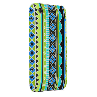 Neon Green and blue tribal pattern iPhone 3 Cover