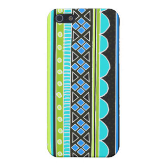 Neon Green and blue tribal pattern iPhone 5 Cases