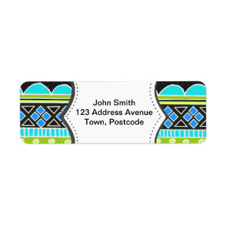 Neon Green and blue tribal pattern Return Address Label