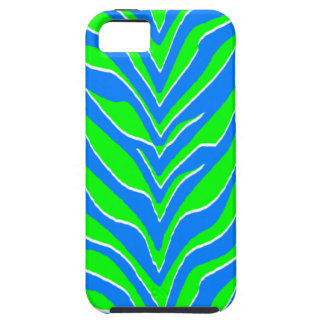 Neon Green and Blue Zebra Stripes iPhone 5 Covers