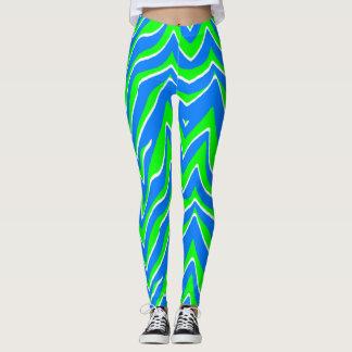 Neon Green and Blue Zebra Stripes Leggings