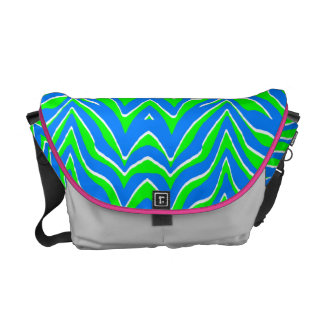 Neon Green and Blue Zebra Stripes Courier Bags