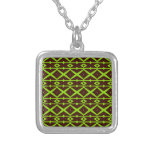 Neon Green and Brown Modern Trellis Pattern Necklace