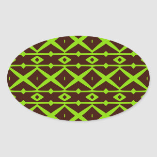 Neon Green and Brown Modern Trellis Pattern Oval Sticker