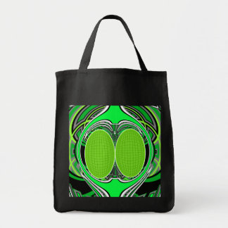 Neon green and gray superfly grocery tote bag