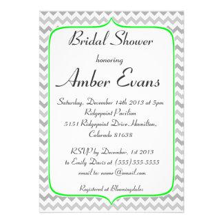 Neon Green and Grey Chevron Bridal Shower Custom Invites