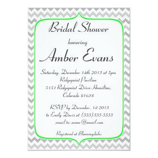 Neon Green and Grey Chevron Bridal Shower 5x7 Paper Invitation Card