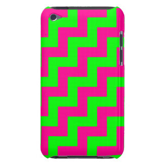 Neon Green and Magenta Diagonal Zigzags, Chevrons Barely There iPod Cases