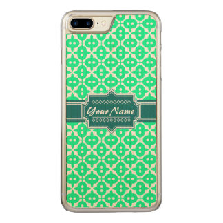 Neon Green and Teal Decorative Pattern Carved iPhone 8 Plus/7 Plus Case