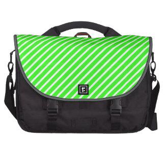 Neon Green and White Diagonal Stripes Laptop Bags