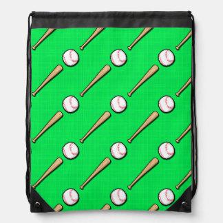 Neon Green Baseball, Softball Pattern Drawstring Backpack