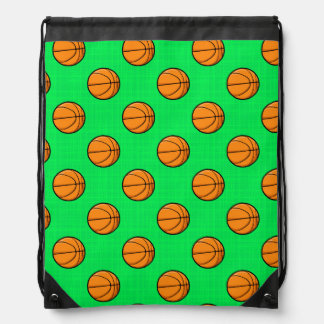 Neon Green Basketball Pattern Drawstring Backpack