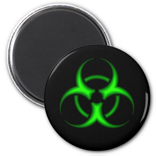 Neon Green Biohazard Symbol Magnet Refrigerator Magnet