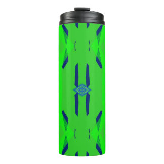Neon Green Blue Colorful Modern Pattern Thermal Tumbler