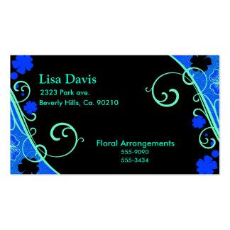 Neon Green Blue Floral Set Pack Of Standard Business Cards