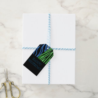 Neon green blue lines gift tags