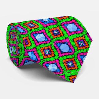 Neon Green Blue Orange Abstract Tie