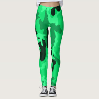 Neon Green Camo Girl Leggings