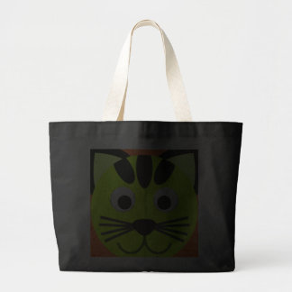 Neon Green Cat On Orange Trick Or Treat Tote Bag