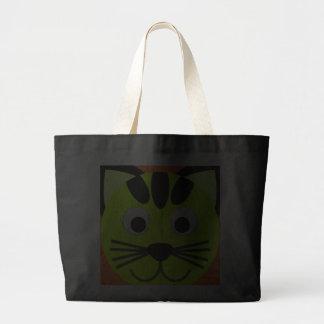 Neon Green Cat On Orange Trick Or Treat Tote Bag
