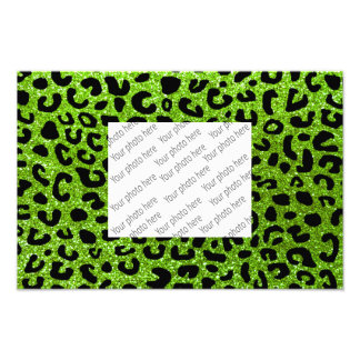 Neon green cheetah print pattern photo print