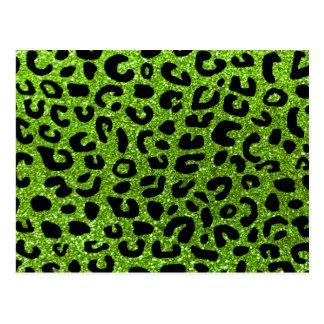 Neon green cheetah print pattern postcard