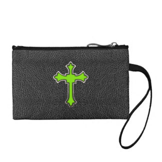 Neon Green Cross Black Vintage Leather Image Print Coin Wallets