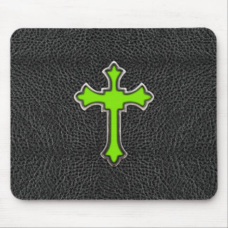 Neon Green Cross Black Vintage Leather Image Print Mouse Mat