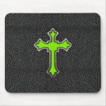 Neon Green Cross Black Vintage Leather Image Print Mouse Mats