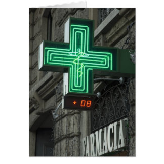 Neon Green cross outside Farmacia (Drug store or Card